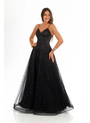 Carmen Kloş Işlemeli Prenses Abiye Elbise Siyah
